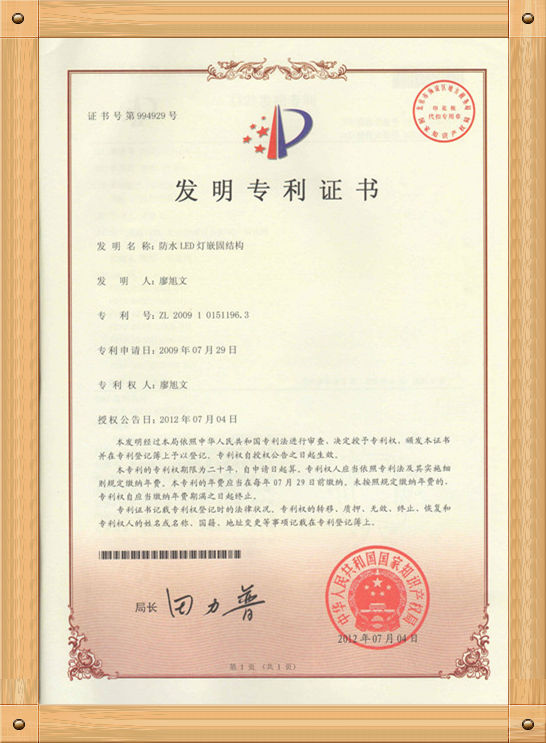 Patent in China